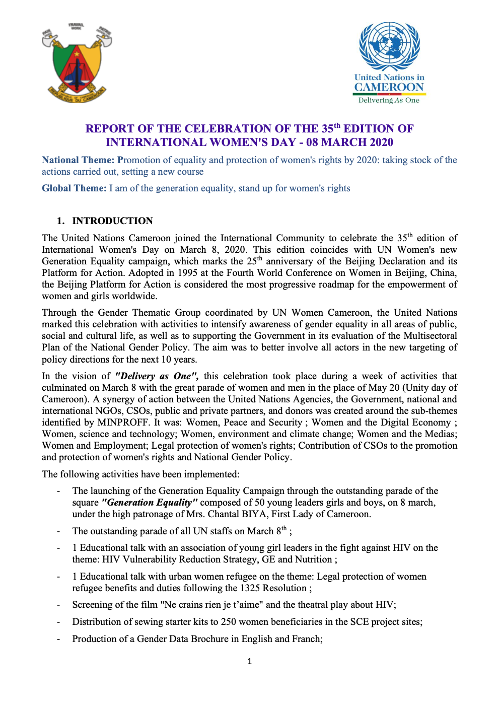 REPORT OF THE CELEBRATION OF THE 35th EDITION OF INTERNATIONAL WOMEN'S DAY - 08 MARCH 2020